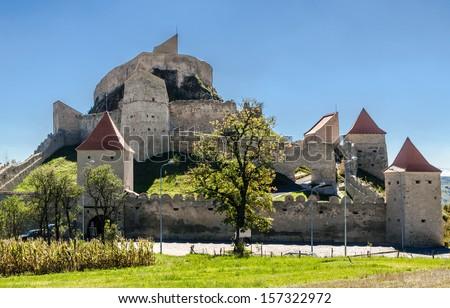 Rupea fortress is in Brasov county, Romania. Medieval saxon landmark of Transylvania. - stock photo