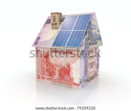 rupee money home with solar panel concept financing