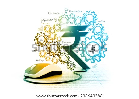Rupees symbol connected to a computer mouse - stock photo