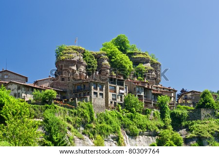 Rupit typical rural landscape of Catalonia, Spain - stock photo
