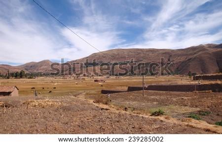 rural andes scenery around Lake Titicaca in Peru (South America) - stock photo