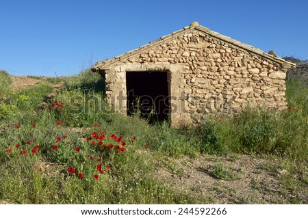 Rural building in Huesca Province, Spain. - stock photo