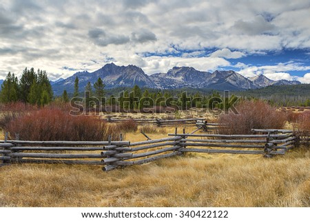 Rural countryside below the Sawtooth range near Stanley, Idaho. - stock photo