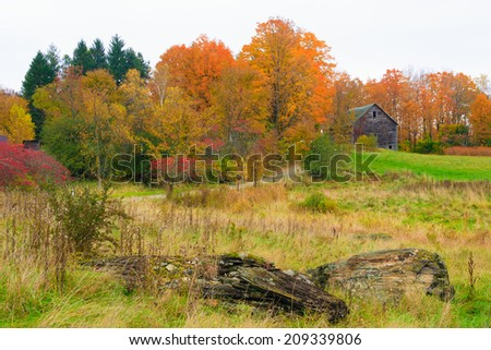 Rural countryside in the autumn, Stowe Vermont, USA - stock photo