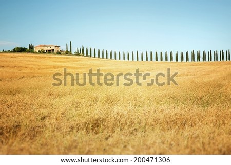 Rural countryside landscape in Tuscany region of Italy  - stock photo