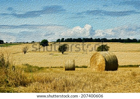 rural countryside oil painting - stock photo