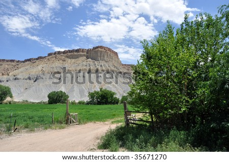 Rural Desert Ranch near Capitol Reef National Park - stock photo