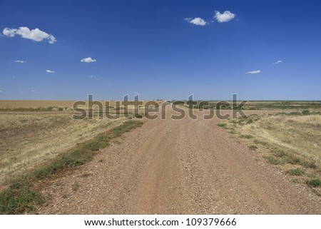 Rural farm crossroads in Oklahoma, USA. - stock photo