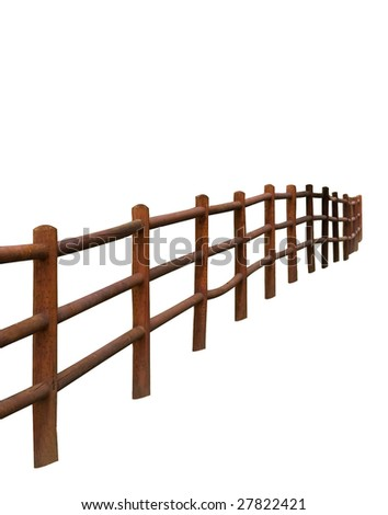 Rural Fencing with clipping path - stock photo