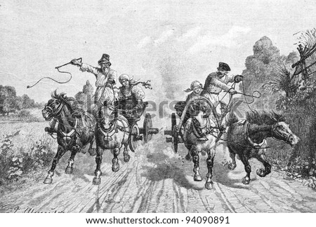 """Rural horse races. Engraving by Olszewski from picture by painter Stein. Published in magazine """"Niva"""", publishing house A.F. Marx, St. Petersburg, Russia, 1893 - stock photo"""