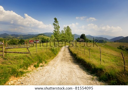 Rural landscape from Romania - village road and grassland