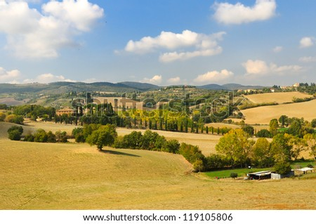 rural landscape in toscana (italy) - stock photo