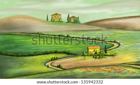 Rural landscape in Tuscany, Italy. Digital painting. - stock photo