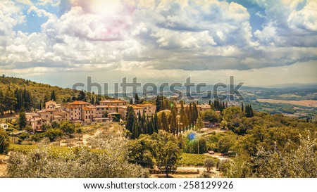Rural landscape in Tuscany, near Siena medieval town. Italy,Europe