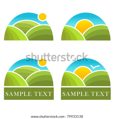 Rural landscape logotype - stock photo