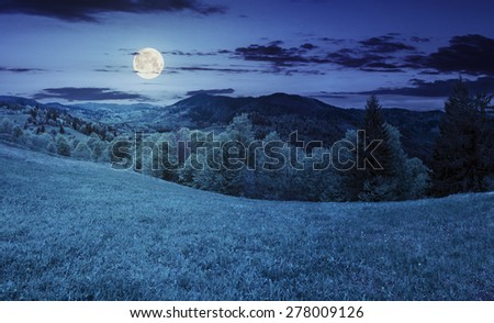 rural landscape. meadow and trees on the hillside. forest in fog on the mountain top at night in full moon light - stock photo