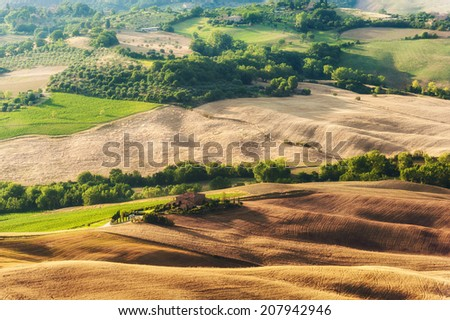 Rural landscape of green Tuscan, Italy - stock photo