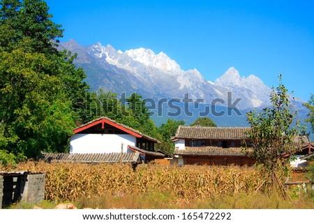 Rural landscape of Old Town Lijiang. Yunnan. China. - stock photo