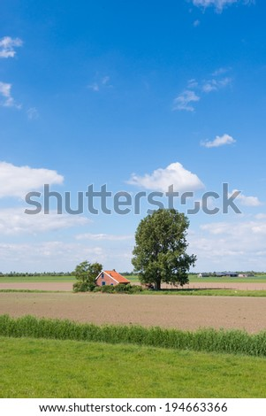 Rural landscape on a sunny day in the spring season. - stock photo