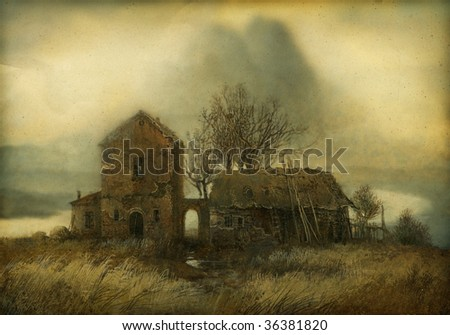 Rural landscape, painted with tempera on paper. - stock photo