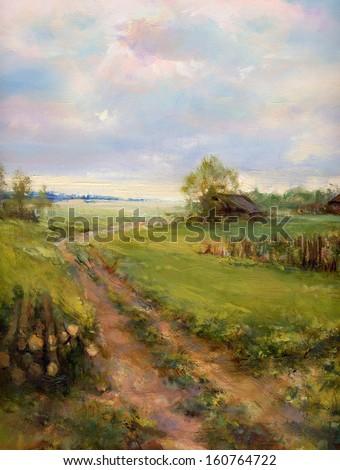 rural landscape painting - oil paints impasto on canvas - stock photo