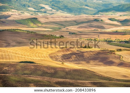 Rural landscape view of the most beautiful places on earth Val d'Orcia, Tuscany. Southern Tuscany, Italy
