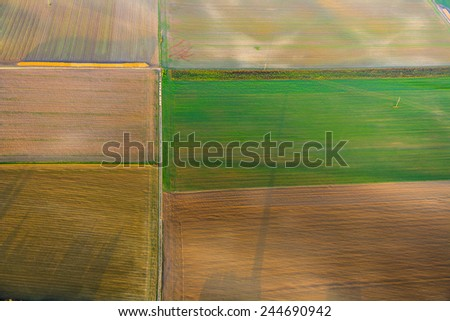 rural landscape with acre from hot air balloon in Frankfurt - stock photo