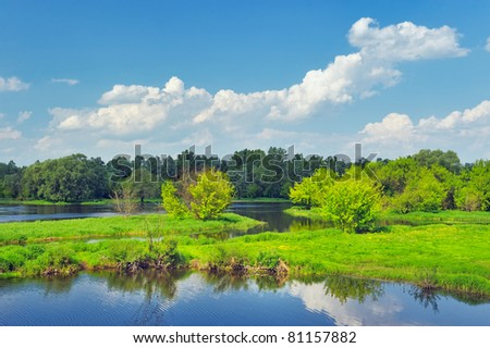 Rural landscape with flood waters of Narew river, Poland. Beautiful wallpaper. - stock photo