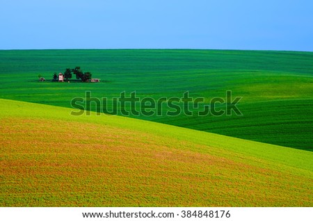 Rural landscape with green field, blue sky and wooden hunting shack , South Moravia, Czech Republic - stock photo