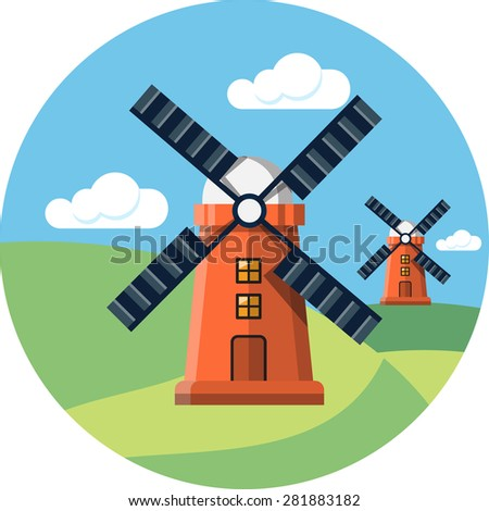 Rural Landscape with Mills - stock photo