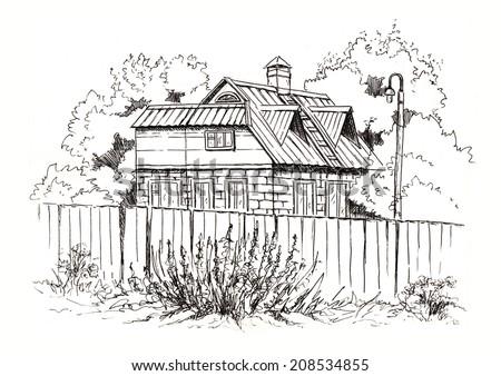 Rural Landscape Old Farmhouse Hand Drawing Stock Illustration 208534855