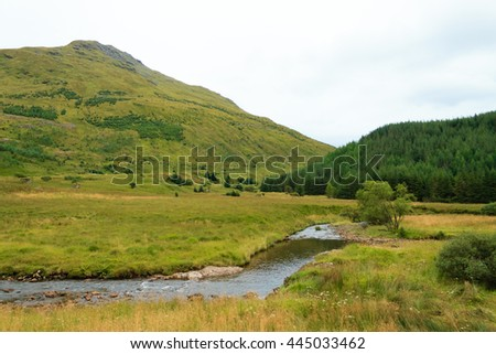Rural panorama from Scotland. Grenn hills from Highlands region. Travel destinations - stock photo