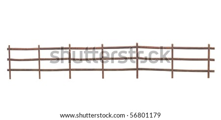 Rural Pole Fence with Clipping Path - stock photo