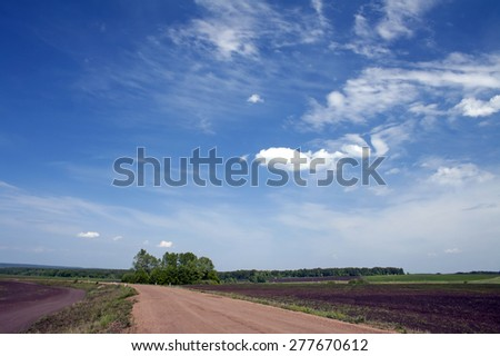 Rural road. Blue sky with white clouds. Green field - stock photo