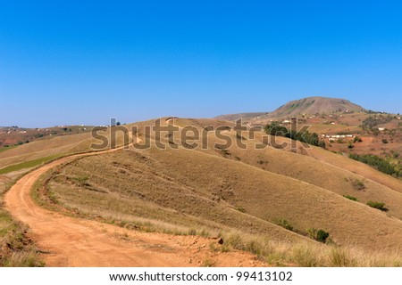 rural road in kwazulu natal south africa - stock photo