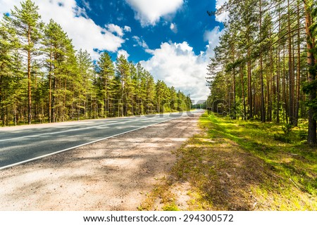 Rural road passing through the coniferous forest. Image in the orange-blue toning - stock photo