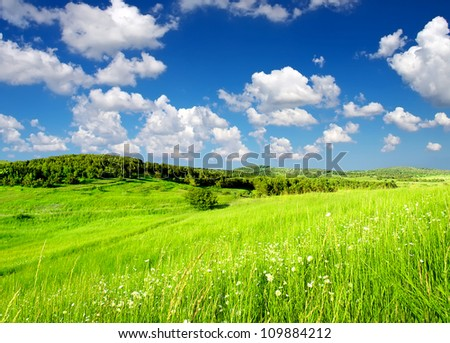 Rural scene with grass and clouds. Natural composition - stock photo