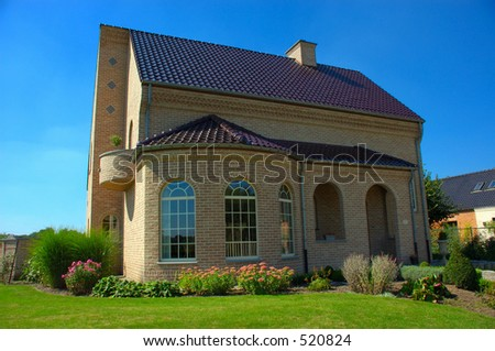 Rural suburban house in belgium. - stock photo