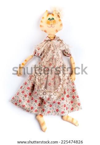 Rural textile dolls. Cat. Anthropomorphic animals. - stock photo