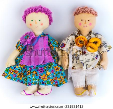 Rural textile dolls couple. - stock photo