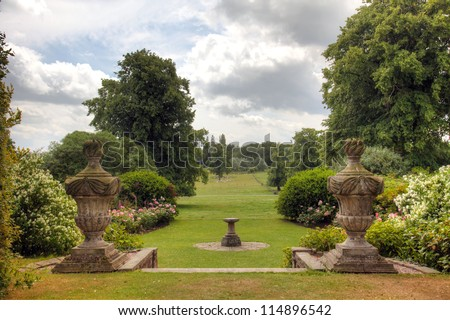 Rural view of the garden and grounds of an English Country Estate. - stock photo