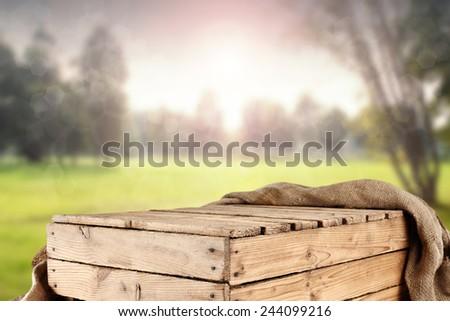 rural wooden box in garden  - stock photo