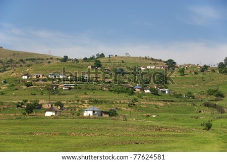 Rural zululand, KwaZulu was a bantustan in South Africa, intended by the apartheid government as a semi-independent homeland for the Zulu people. - stock photo