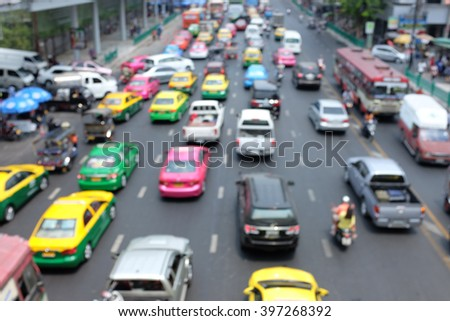 Rush Hour in Bangkok Centre, Blurred abstract traffic jams road in Bangkok Thailand