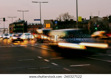 Rush Hour on a multi lane highway in Berlin - stock photo