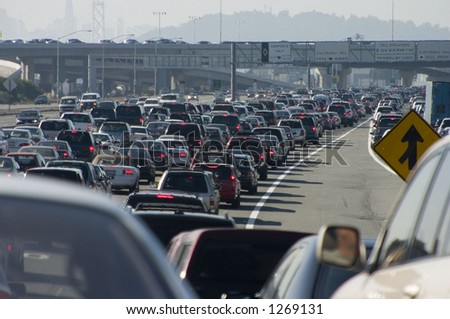 Rush-hour traffic approaching the Oakland-San Francisco Bay Bridge. - stock photo