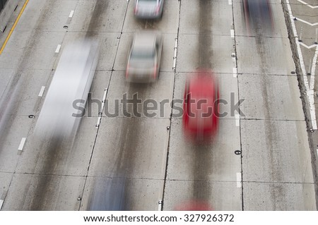 Rush hour traffic on Interstate Highway 110 Pasadena Freeway, into downtown Los Angeles California - stock photo