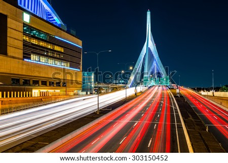 Rush hour traffic on Zakim Bunker Hill bridge in Boston, MA - stock photo