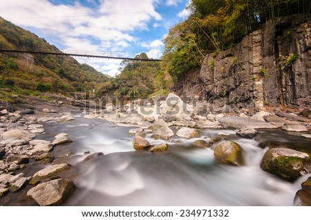 rushing river in a mountain forest - stock photo