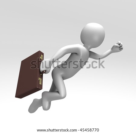 Rushing to Work (With Clipping Path) - stock photo
